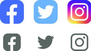 graphic showing icons for Facebook, Twitter and Instagram